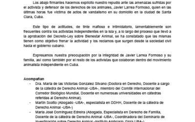 Repudio a las amenazas dirigidas contra el activista por los derechos de los animales Javier Larrea Formoso
